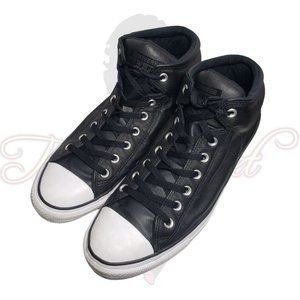 Converse All Star Black Leather Lace Up High Tops